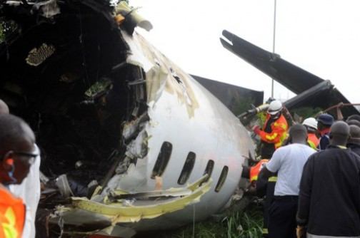 Associated Airline   plane wreckage carrying the corpse of ex-aviation minister, Segun Agagu: 16 people died in the crash