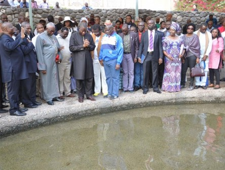 At River Jordan: Stella is pictured three rows behind, still in white hat