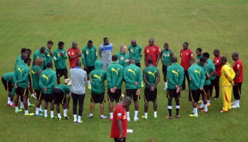 cameroonian players at a training session in Yaounde before the big match