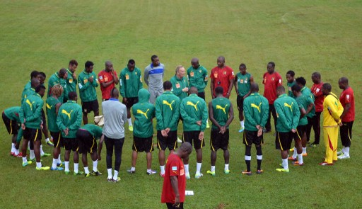 cameroonian players in training