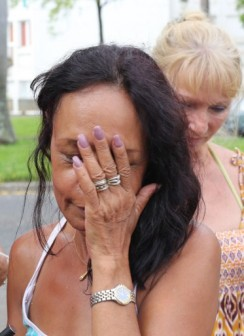 Anne Marie Collomp: wife of Francis Collopm in tears of joy in French Reunion