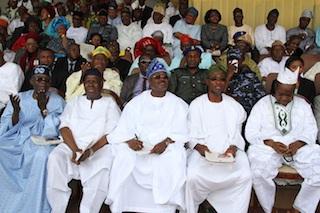 From left, Asiwaju Bola Ahmed  Tinubu, National Nhairman, APC, Chief Bisi Akande and Governor Abiola  Ajimobi and Ogbeni Rauf Aregbesola of Oyo and Osun States and Alhaji  Arisekola Alao