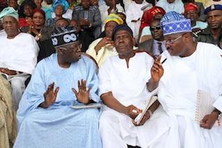 From left, Asiwaju Bola Ahmed  Tinubu, National Nhairman, APC, Chief Bisi Akande and Governor Abiola  Ajimobi of Oyo State