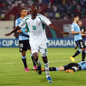 Golden Eaglets player, Taiwo Awoniyi celebrates scoring a goal against Uruguay