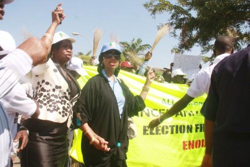 Hon Abike Dabiri Erewa and APC women's  leader at  the protest march