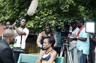 Kemi Lala – on set of Tunde Kelani's movie