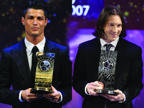 Messi ronaldo back pix