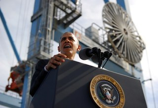 Obama speaking at the port of New orleans