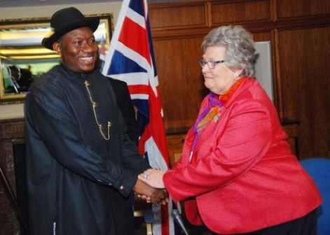 President Jonathan (looking hale and hearty) and Baroness Lynda Chalker at the HIIC meeting in London