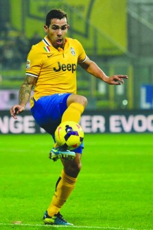 Tevez: Vows to score against Real Madrid tonight.  Photo AFP