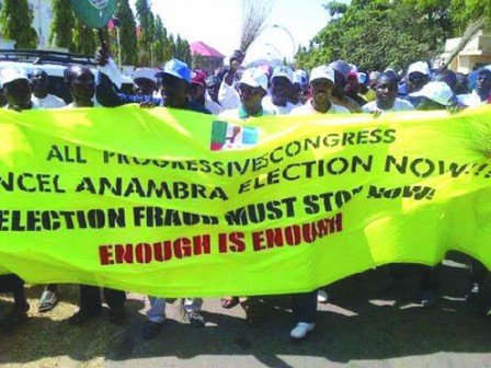 The protesters marching on to INEC