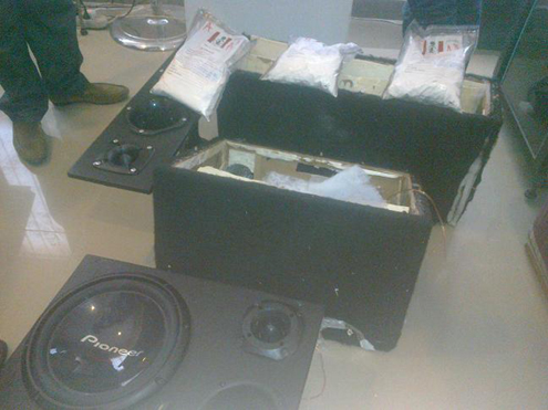 The box of speakers containing cocaine