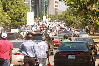 Another view of the protest march on the streets of Abuja