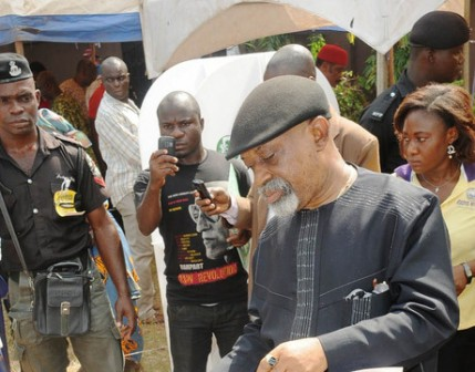 Chris Ngige at a voting centre Saturday: says poll a mockery of democracy