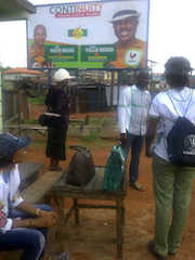 inec polling unit with poster at obiago.
