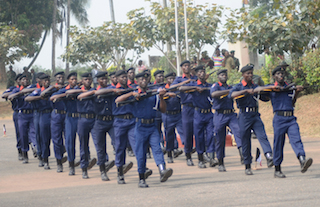 Civil Defence Corps:on a parade