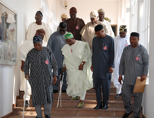 Gov. Mimiko and other  Afenifere leaders in Aso Rock