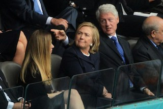 Former US President Bill Clinton (R), Former US Secretary of State Hillary Clinton (C), and their daughter Chelsea