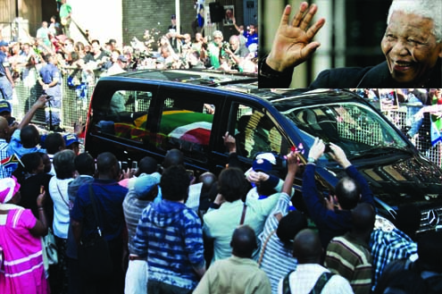 •Bye Bye Mandela: South Africans viewing the casket their former President for the last time, this morning. Inset is the late Nelson Mandela. PHOTO: AFP