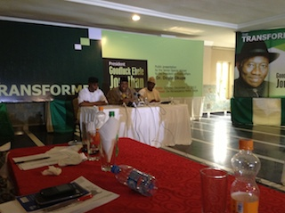 Okupe, m, at the press conference in Lagos
