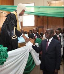 Oshiomhole presents the budget to Edo Assembly Speaker