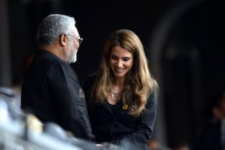 Queen Rania of Jordan and Ghana's former President Jerry Rawlings (L) arrive for the memorial service