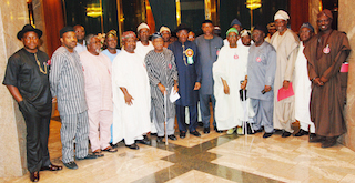 The Afenifere delegates in a photo-op with Jonathan.