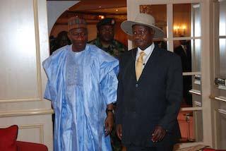 Goodluck Jonathan with Museveni