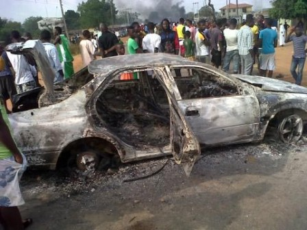 The toyota camry car burnt by angry youths