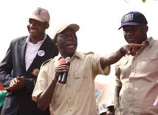 Governor Adams Oshiomhole with the PDP councillor