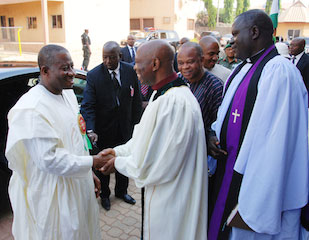 Jonathan at the Church of Christ In Nationss Abuja