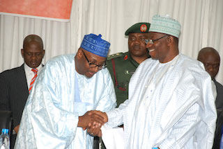 Mu'azu and Goodluck Jonathan after the swearing in