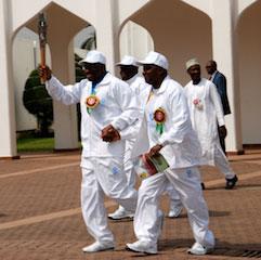 Jonathan and VP Sambo having a feel of the baton running together