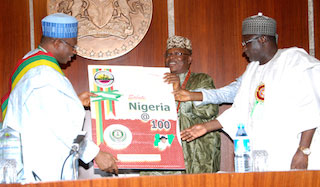 and a card for the centenary of Nigeria's formation:Right is the minister of transport, Senator Idris Umar