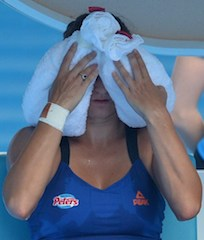 Serbia's Vesna Dolonc can't bear the heat: she cools down during her women's singles match against Serena Williams