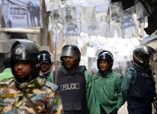 Bangladeshi riot police in Dhaka