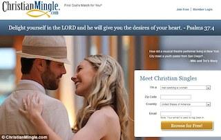 website of ChristianMingle.com