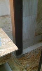Oversized wash hand basin  base blocking the toilet