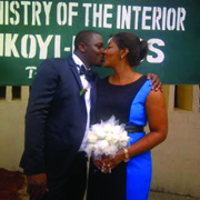 Iwuji and Lawal during their wedding last November