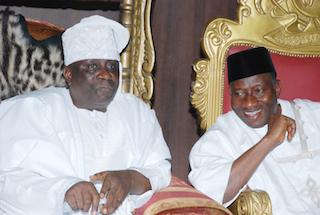 Jonathan in a tete-a-tete with Oba Akiolu