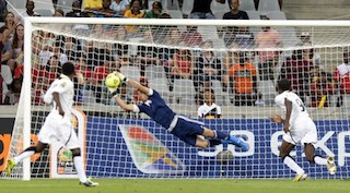 Libya's goalkeeper Nashnush saves a goal during the African Nations Championship final football match for 1st and 2nd place between Ghana and Libya, in Cape Town