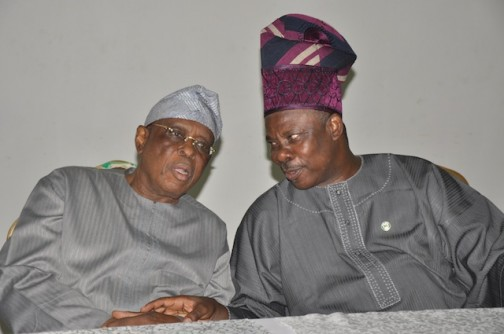 Ogun State Governor, Senator Ibikunle Amosun (right) with former Governor of Ogun State, Chief Olusegun Osoba at the All Progressives Congress (APC), Ogun State Chapter Stakeholders Meeting held in Abeokuta yesterday.