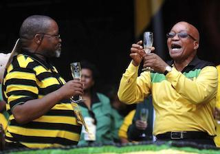 Zuma, right and Gwede mantashe, ANC secretary toasting to ANC victory