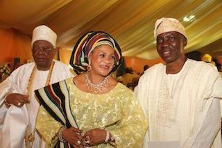 Otunba Subomi Balogun, Abimbola Balogun and Senator Gbenga Kaka at the 80th birthday of Awujale of Ijebuland