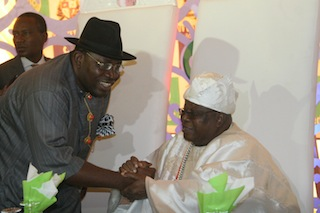 Bayelsa State Governor, Seriake Dickson and Oba Sikiru Adetona