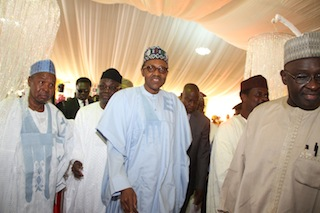 Amiu Masari, Tunde Bakare and Mohammed Buhari at the birthday party in Ijebu Ode