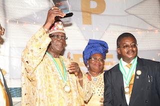 L-R: Oba Josiah Bamidele Otukoya, his Olori and Chief Olusegun Osideko