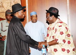 PRESIDENT GOODLUCK JONATHAN IN A HANDSHAKE WITH THE LEADER OF OIL AND GAS PRODUCING COMMUNITIES IN NIGERIA, CHIEF WELLINGTON OKIRIKA DURING THEIR VISIT TO THE PRESIDENIAL VILLA ABUJA ON THURSDAY 15 MAY 2014