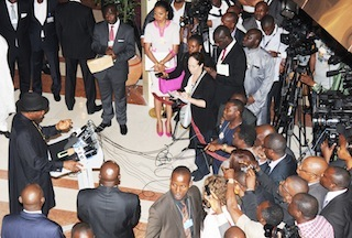 President Goodluck Jonathan addressing journalists after the World Economic Forum on Africa in Abuja on Friday 9 May 2014