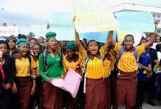 School girls join the protets